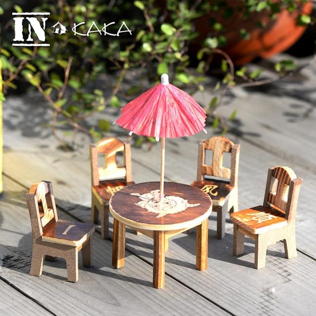 1 escritorio + 4 sillas casa mini mundo decoración Dollhouse Muebles ...