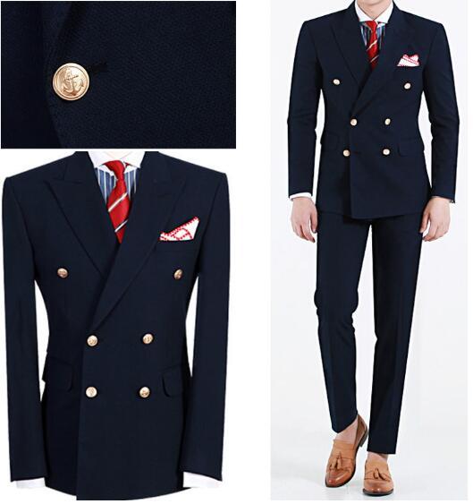 Custom Big Skinny Men Suit Slim Fit Wedding Suits Navy Blue Peaked Lapel Double Breasted Formal 2 Piece Groom