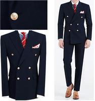 Custom Big Skinny Men Suit Slim Fit Men Wedding Suits Navy Blue Peaked Lapel Double Breasted Formal Men Suits 2 Piece Groom Suit