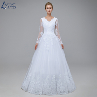 V neck White Wedding Dress 2020 Long Sleeves Summer vestido De Noiva Lace Appliques A Line Floor Length robe de mariee
