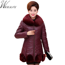 Wmwmnu New Winter Coat Women High Quality PU lether Casual thick Parkas fur collar Brand Women Warm Jackets Plus Size 5XL ss349f