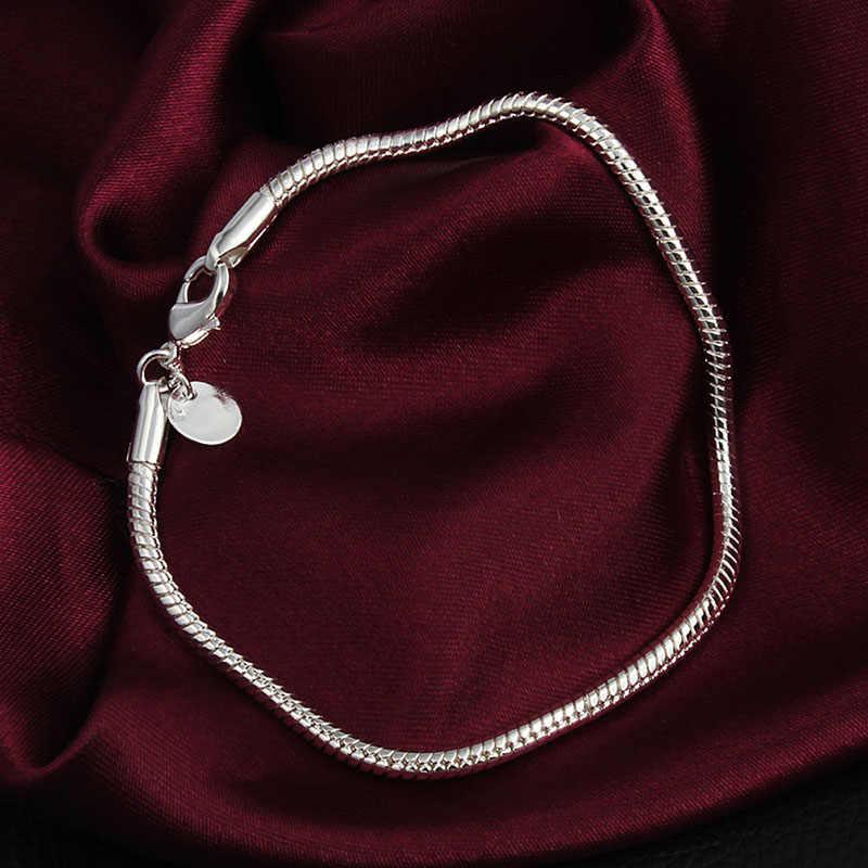 Fashion Wanita Gadis Warna Perak 3 Mm Ular Tembaga Rantai Gelang Gelang untuk Perhiasan Aksesori Pesta Koktail hadiah