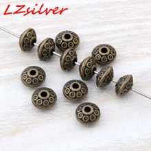 MIC  500PCS / Lots Antiqued bronze Tone Tiny Alloy Spacer Beads Charms 6.5x4mm DIY Jewelry D26