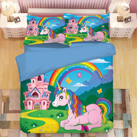 Cute Unicorn Kids Bedding Set Rainbow Hair Duvet Cover Colorful Pink Blue Girly Bedspreads Cartoon Bed Set 3pcs queen bedclothes