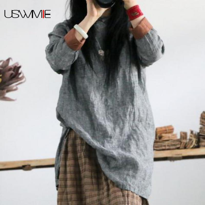 2019 Spring Women Dress Simple Literary Joker O neck Long Sleeve Solid Color Loose Plus Size