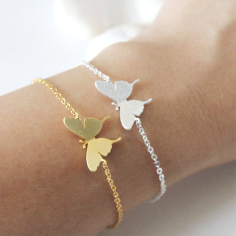Insect Charm Butterfly Armband För Kvinnor Barn Flickor Kids Hand Link Chain Guld Silver Färg Stainless Steel Bridesmaid Gifts