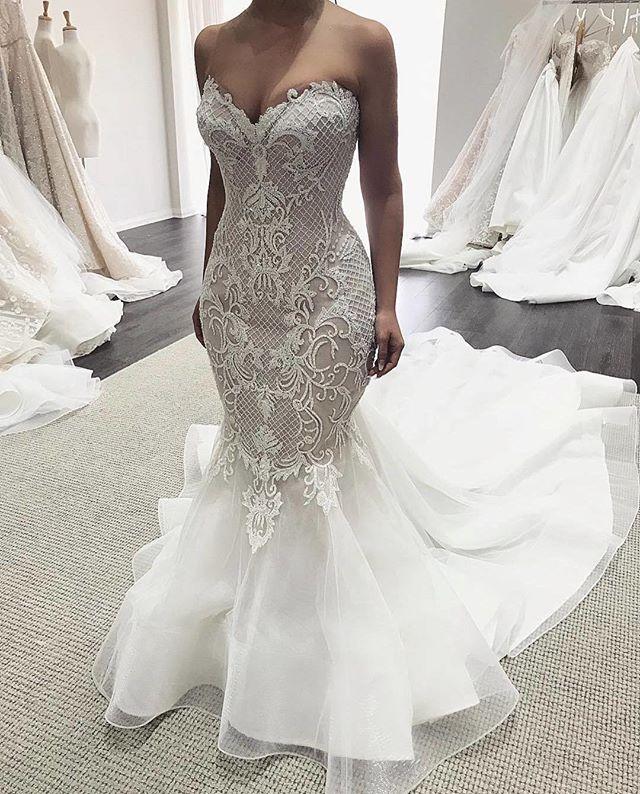 Элегантный Русалка Свадебные платья 2018 Милая с плеча суд поезд Аппликации Тюль Robe de mariage на заказ