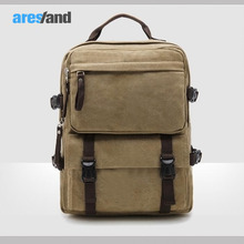 Aresland neue ankunft männer khaki leinwand rucksack racksack schultertasche reisetasche