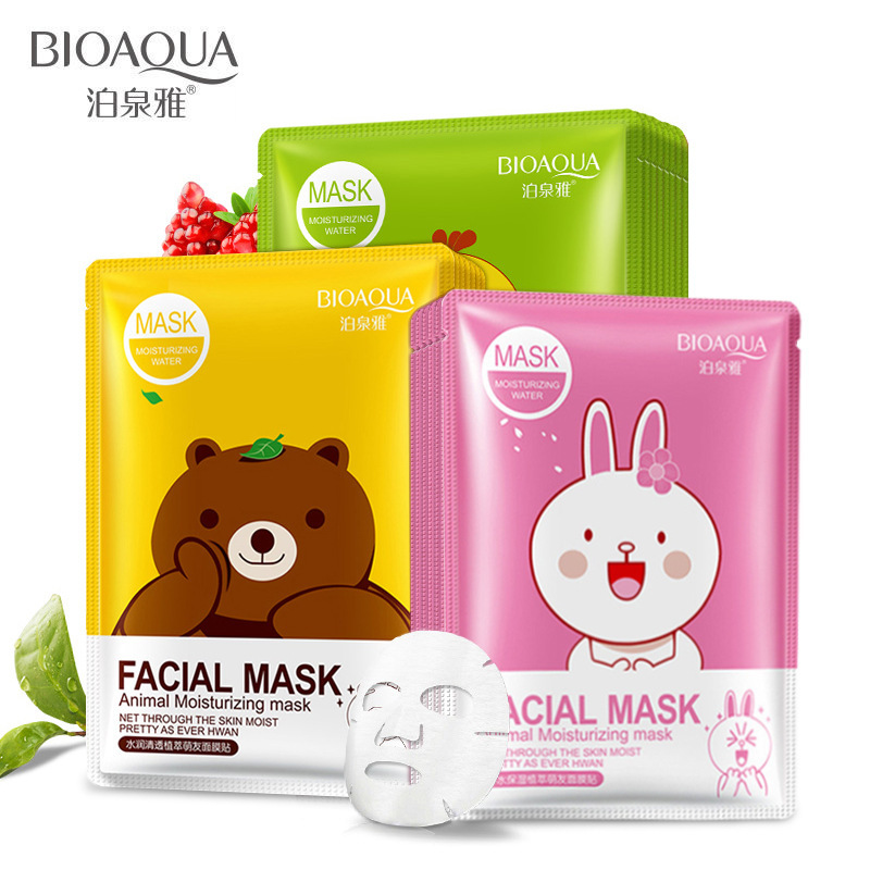 BIOAQUA Skin Care Cartoon Animal Water Facial Mask Moisturizing Oil Control Whitening Shrink Pores Face Mask Beauty Face Care