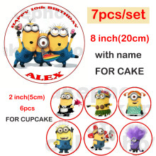 "Wafer paper for cake minions,custom name birthday cakes,7pcs/set (1pc 8""+ 6pcs 2""),minion cup cake topper,edible wafer paper(China)"