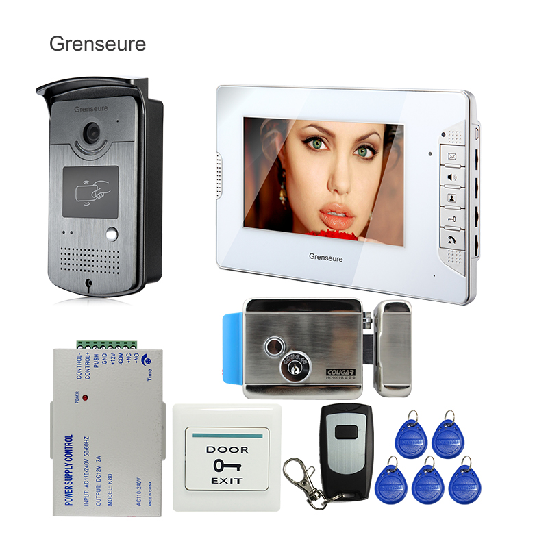 FREE SHIPPING 7 Video Intercom Home Door Phone System 1 White Monitor 1 HD RFID Reader Camera Electric Lock In Stock Wholesale free shipping brand new 7 home video intercom door phone system with recording monitor rfid card reader door camera wholesale