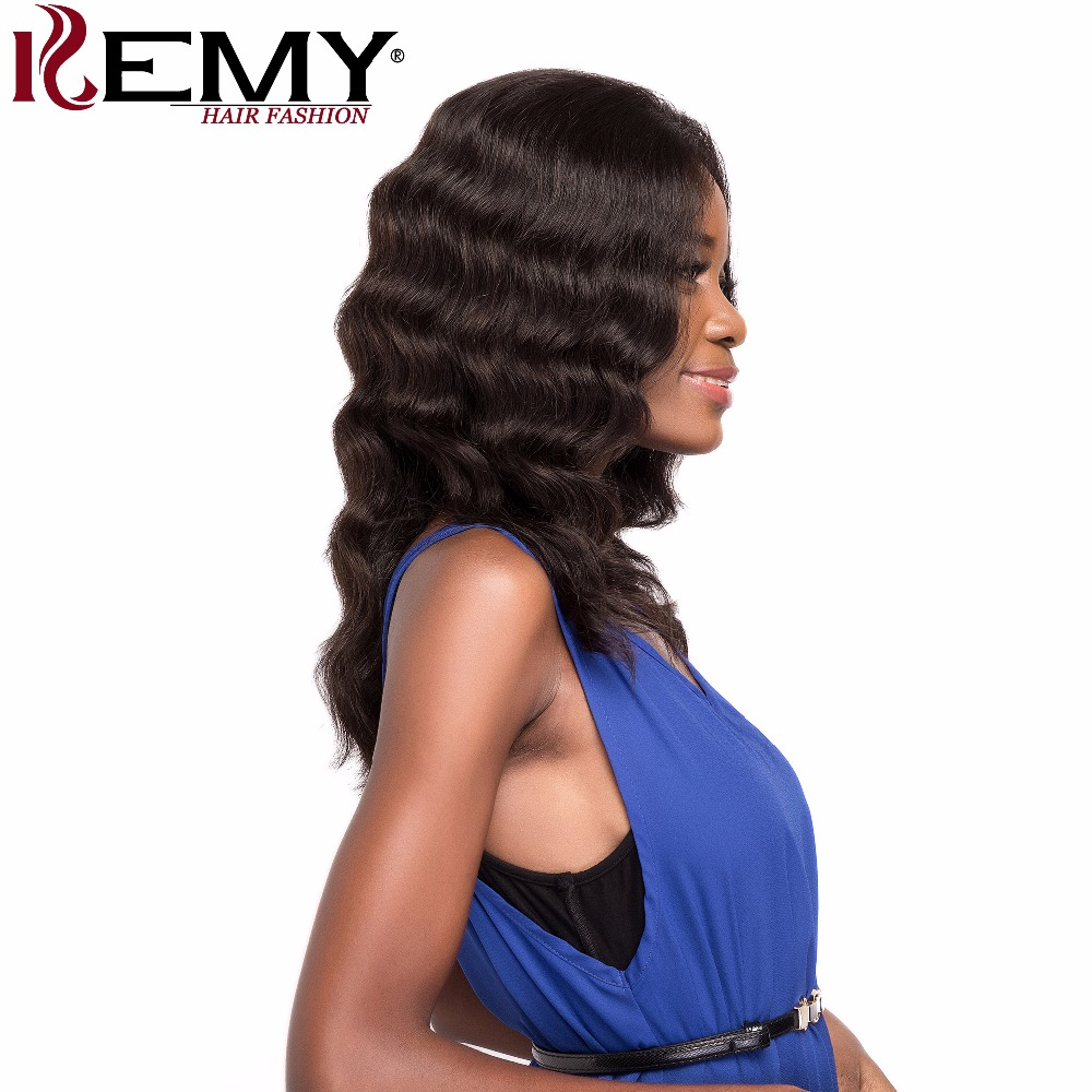 KEMY HAIR FASHION 16 125g Loose Deep Brazilian Remy Lace Front Human Hair Wigs Natural color Free Part For Women Free shipping