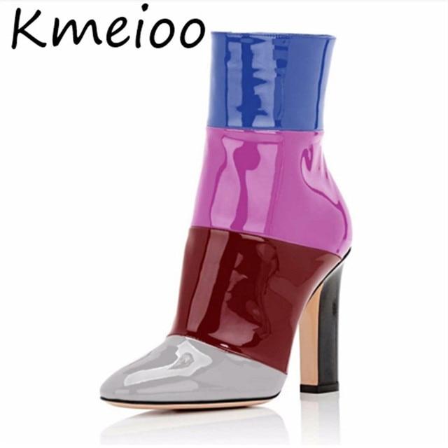 Kmeioo schoenen vrouw Herfst 12 cm Veelkleurige Puntschoen Zijrits Schoenen Chunky Hoge Hak Vrouwen Laarzen AMERIKAANSE Maat 5 -15