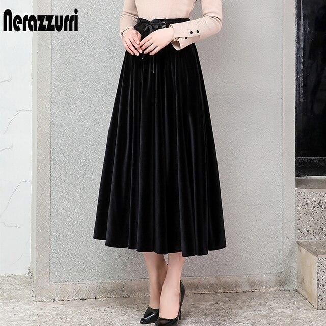 Nerazzurri プリーツベルベットのスカートの女性黒緑ゴシックスタイルエレガントなロング暖かいハイウエストミディスカートプラスサイズ 4xl 5xl 6xl 7xl