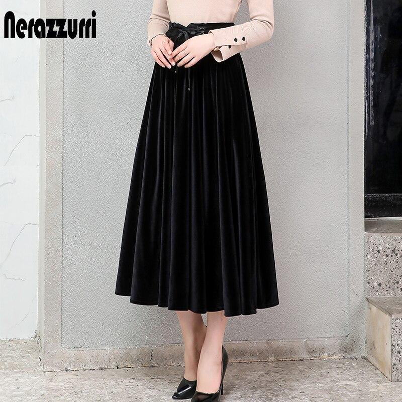 Nerazzurri плиссированная бархатная юбка женская черная зеленая Готический стиль элегантная длинная теплая юбка миди с высокой талией плюс размер 4xl 5xl 6xl 7xl