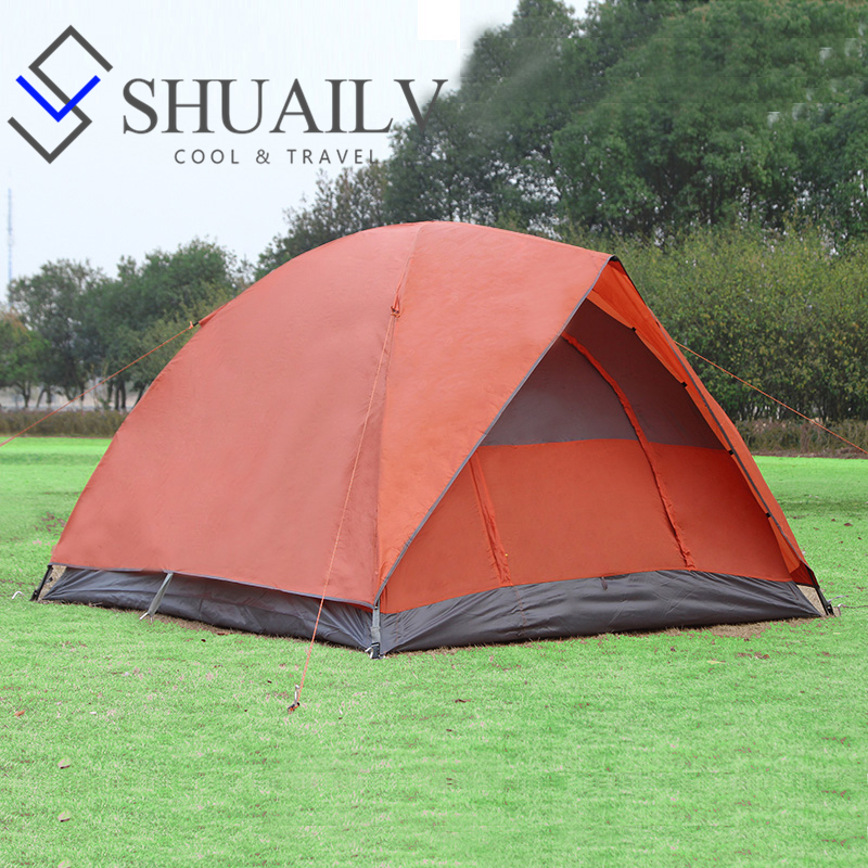 все цены на  Three Season Large Outdoor Camping Tent Waterproof For Family 3 Person With Pole Green Orange Hiking Tourist Tent For Fishing  онлайн