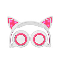 LED Cat Ear Headphones Foldable Kid Gift Wired 3 5mm Gaming Cat Ear Headset Flashing Glowing
