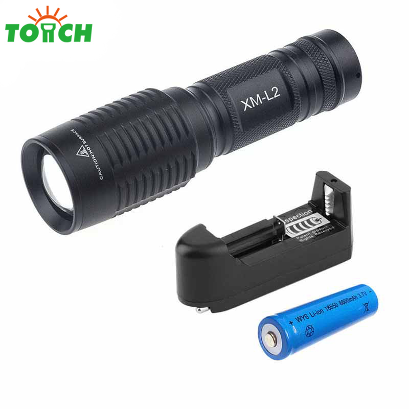 Cree xml T6-L2 Powerful Led Torch Light Waterproof Rechargeable Linternas Zoom Hand Hunting Spotlightwith 18650 Battery Charger crazyfire led flashlight 3t6 3800lm cree xml t6 hunting torch 5 mode 2 18650 4200mah rechargeable battery dual battery charger