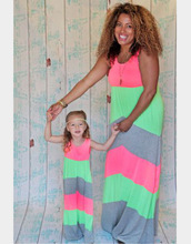Summer Family Matching Outfits Mother Daughter Dresses Contrast Color Striped Long Dress Ankle-Length Mother & Kids Clothes