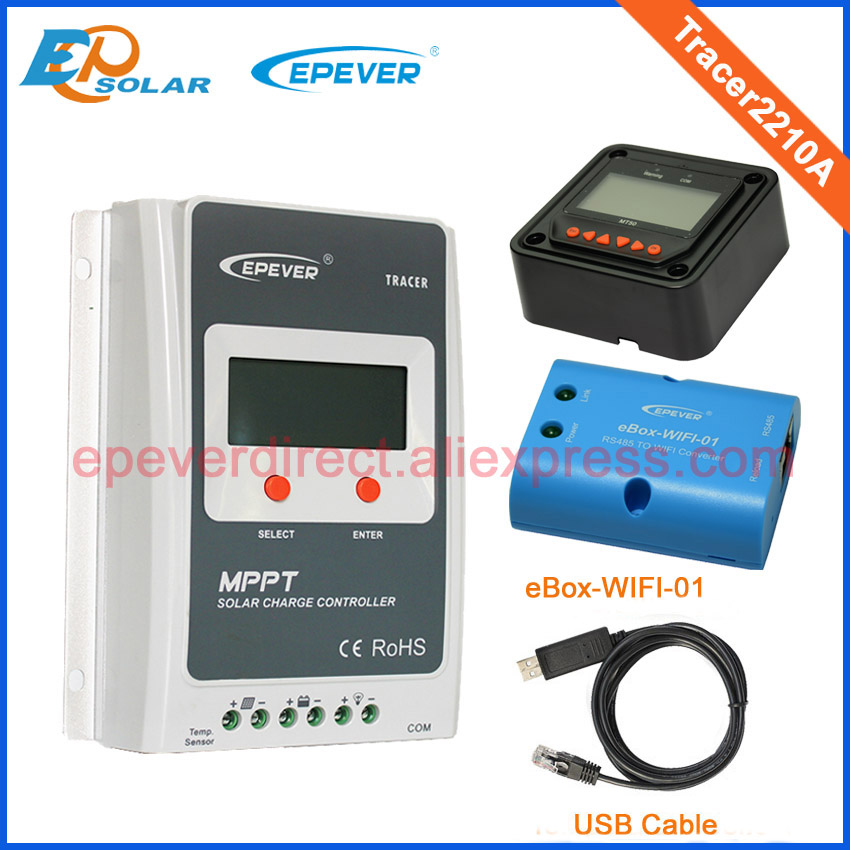 MPPT Tracer2210A Solar regulator with black MT50 remote meter 20A wifi function+USB cable mppt 20a solar regulator tracer2210a with mt50 remote meter and temperature sensor