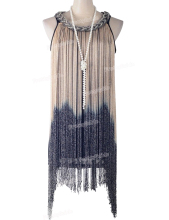PrettyGuide  Women's  Metallic Chain Neck Swing Ombre Draping Tassel Flapper 1920S Gatsby Costume Party Dress