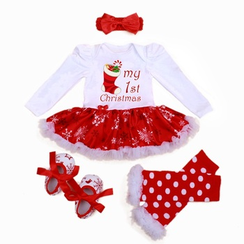 Baby Girl Dress 2019 Girls Summer Sets Baby 4 Piece Suits Romper Dress Tutu Leggins+ Headband Shoes Infant fashion Clothing Set