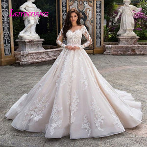 Image 1 - LEIYINXIANG Wedding Dress Vestido De Noiva Sereia Robe Sexy Ball Gown Backless Luxury Bride Dress Elegant Appliques Sweetheart