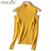 Sweater Women 2017 Autumn Winter High End Pure Cashmere Wool Office Lady Off The Shoulder Striped