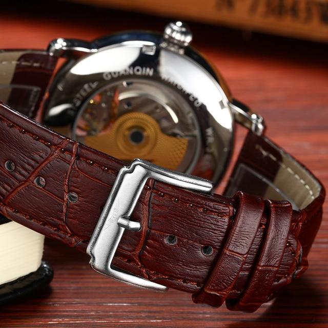 2018 moda guanqin masculino relógios de luxo marca superior esqueleto relógio masculino esporte couro tourbillon automático relógio pulso mecânico 4