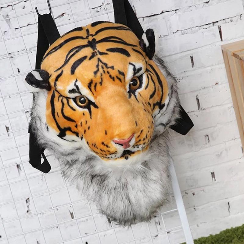 Plush Backpack Real Life Tiger Leopard Panda Head Backpacker School Animal Bags Stuffed  Bag Toys Christmas Birthday Gifts QB171