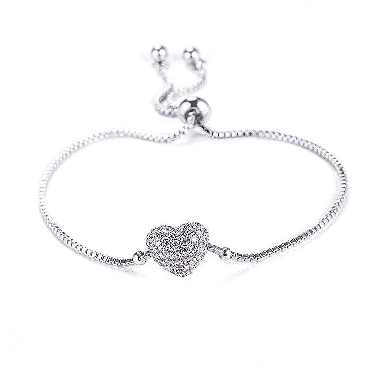 Schmuck & Zubehör Richight-870146 Koreanische Einfache Zirkon Herz Armbänder Für Frauen Mode Schmuck Charme Armband Armreifen Armbänder & Armreifen