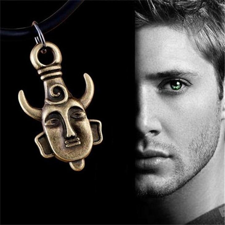 Colar sobrenatural samulet dean winchester jensen ackles amuleto touro chifre pagão buda pingente vintage jóias spn atacado