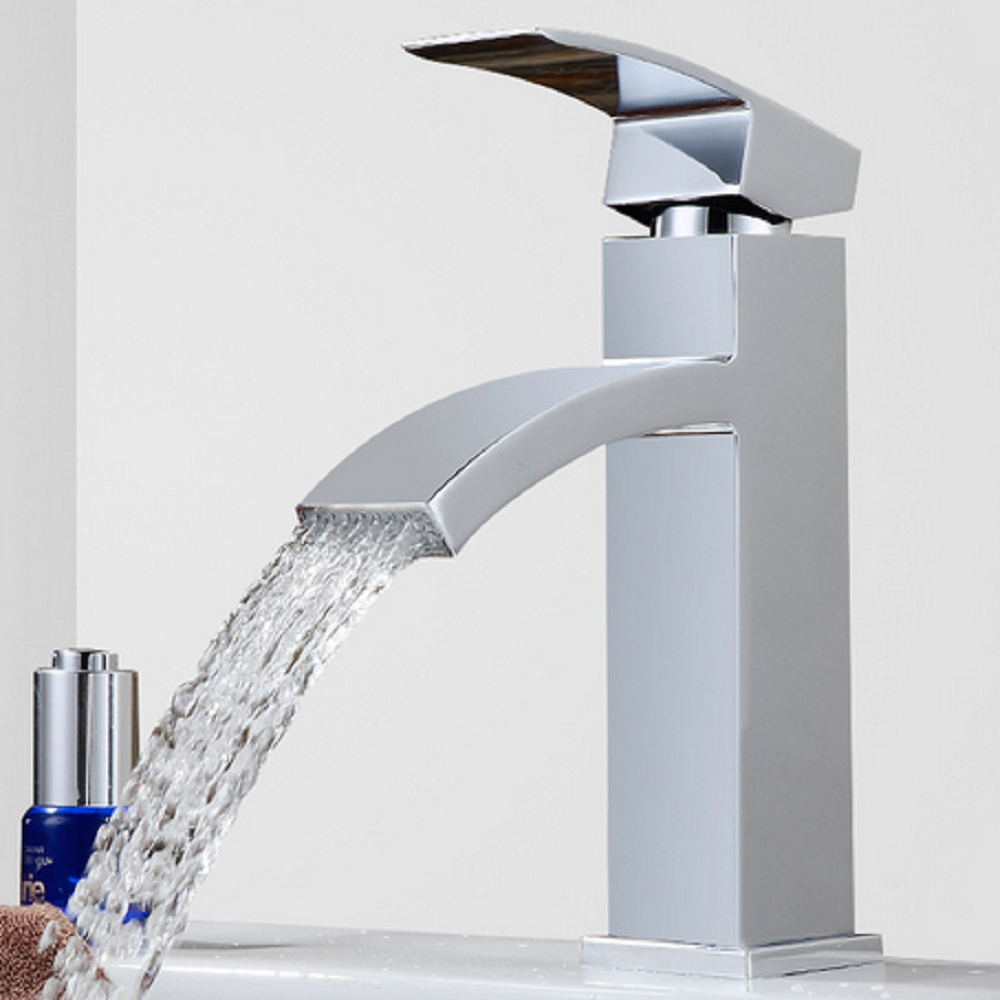 EVERSO Waterfall Bathroom Faucet Basin Faucet Sink Faucet Torneira Vanity Vessel Mixer Tap Cold Hot Water good quality waterfall spout basin vessel sink faucet deck mount golen brass hot cold mixer tap for bathroom