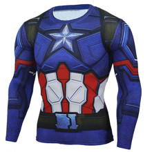 Supreme Compression Shirt Captain America Long Sleeve 3D Crossfit T Shirt Men T-Shirts Tights Superhero Comics Fitness Tops Male
