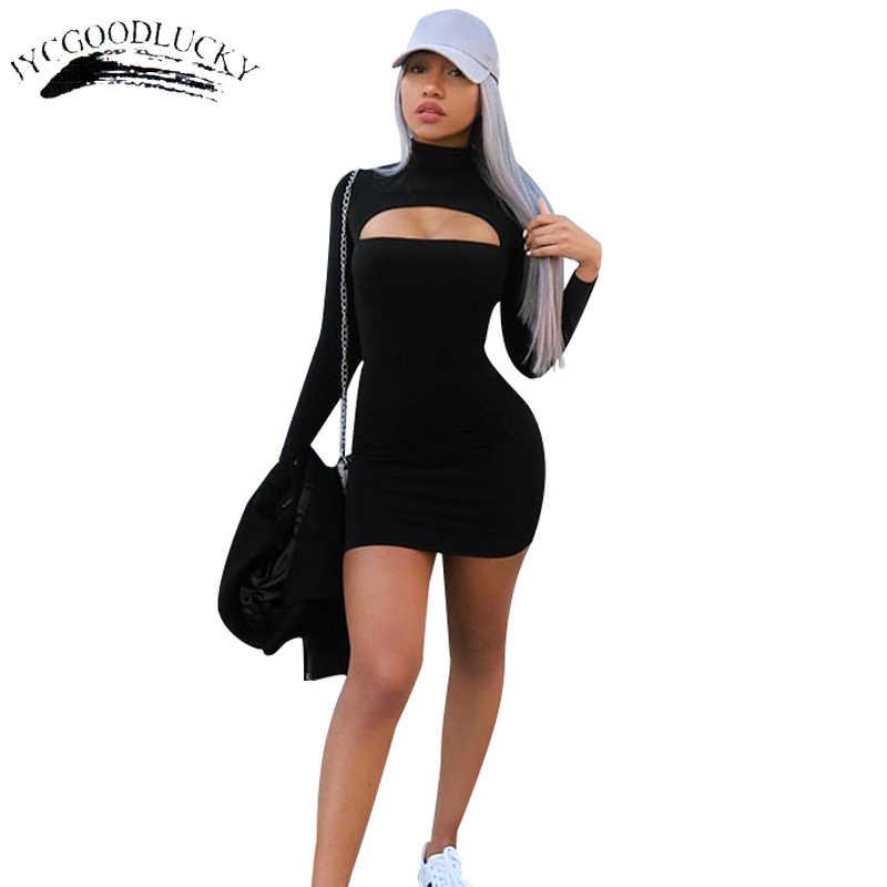 731885a610d Пикантные открытые ночной клуб платье для Для женщин с длинным рукавом  осень короткие Платья для женщин