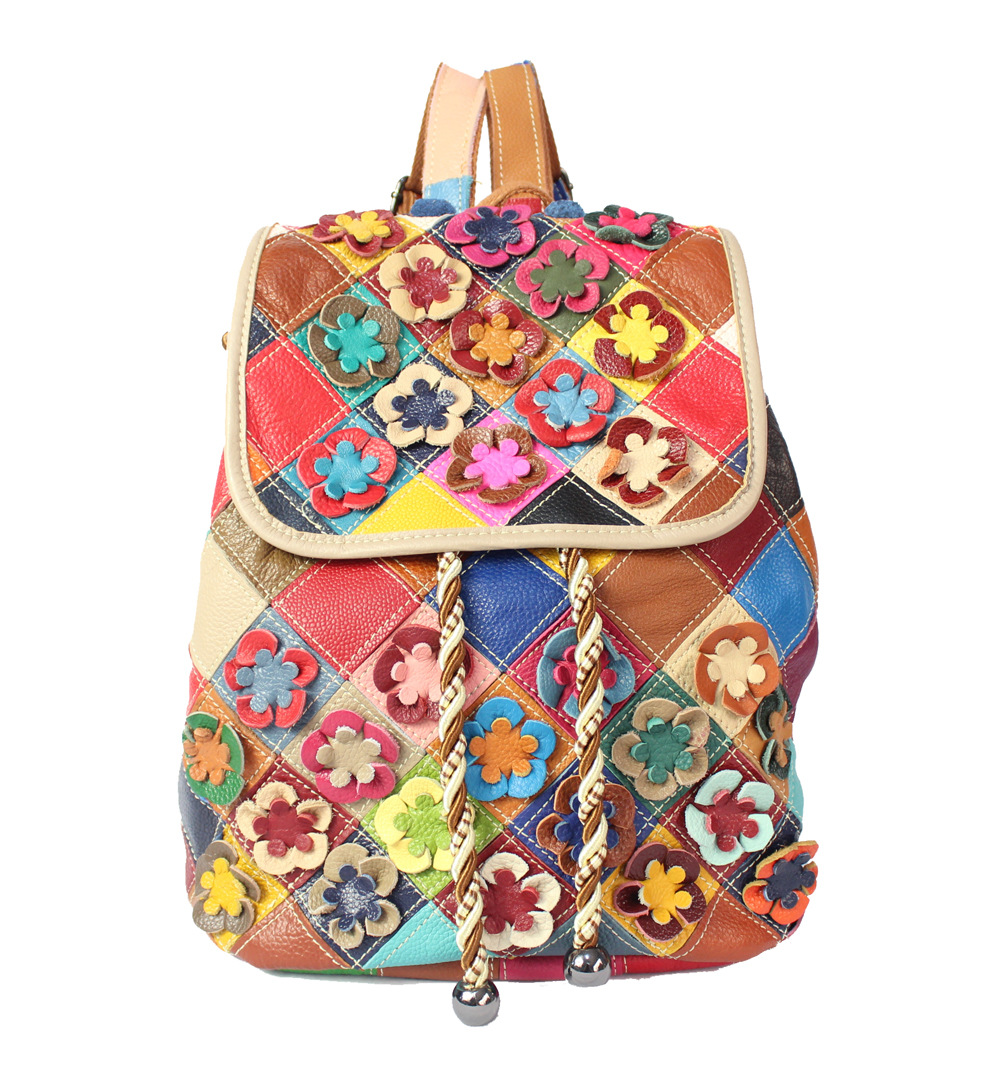 Genuine leather backpack women designer patchwork flowers print female bags fashion small colorful drawstring backpacks travel цена 2017