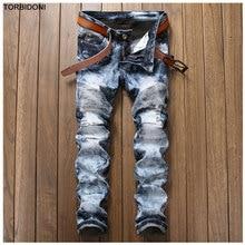Men Fashion Spliced Denim Jeans Pant Vintage Snow Wash Patchwork Distressed Jeans Men Slim Hole Trousers Hip Hop Streetwear Pant