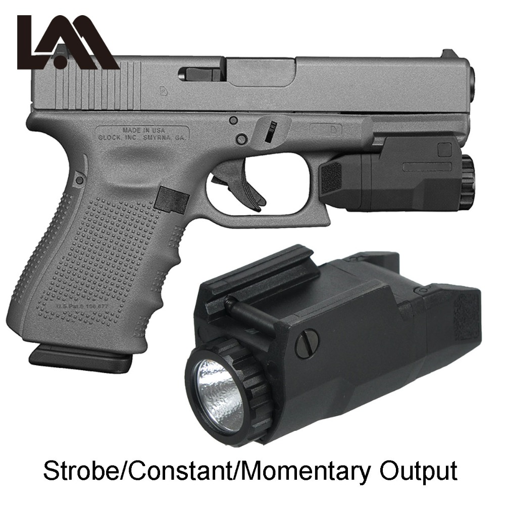 LAMBUL Compact APL Tactical Aple Pistol Light Constant/Momentary/Strobe Flashlight LED White Light Fit 17 19 21 Glock 20mm Rail-in Weapon Lights from Sports & Entertainment    1