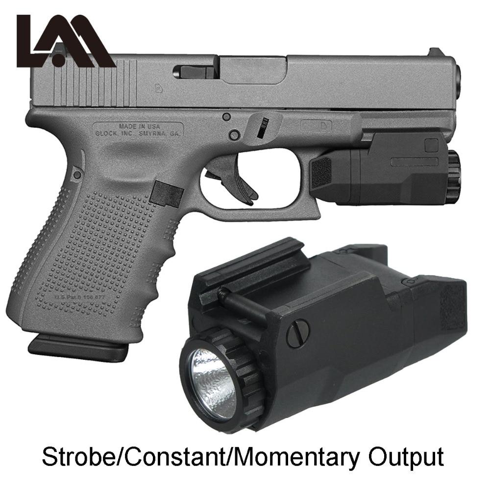 LAMBUL Compact APL Tactical Aple Pistol Light Constant/Momentary/Strobe Flashlight LED White Light Fit 17 19 21 Glock 20mm Rail