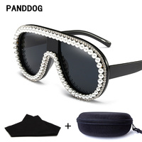 PANDDOG Luxury Diamond Decorate Oversize Union Frame Sunglasses Women With Glasses Case And Cloth YWFDY97363