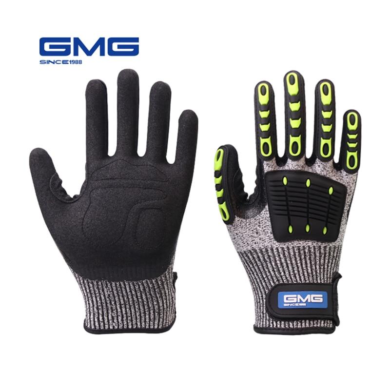 Перчатки с защитой от ударов, вибрационные рабочие перчатки GMG TPR, противоударные амортизирующие ударопрочные перчатки