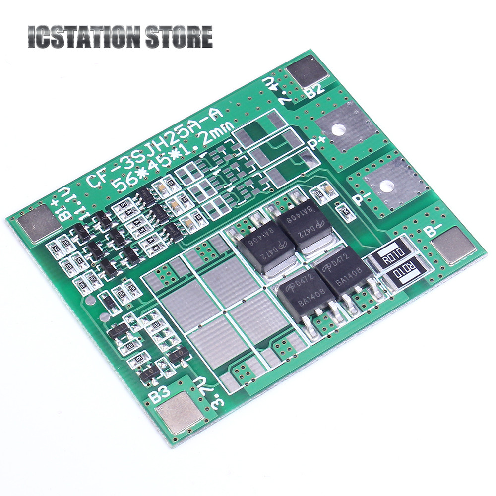 12A 3S 18650 Li-ion lithium Battery Cell Charger Protection Board PCB Lithium Polymer Battery Charging Module 10pcs 1s 3 7v 2 5a li ion bms pcm battery charging protection board pcm for 18650 lithium ion li battery protect module