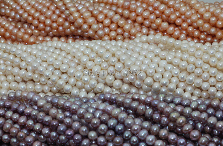 Wholesale Top Real pearl Round Bead 8 9mm Natural pearl highlight Fashion pearl 37cm Strand Loose