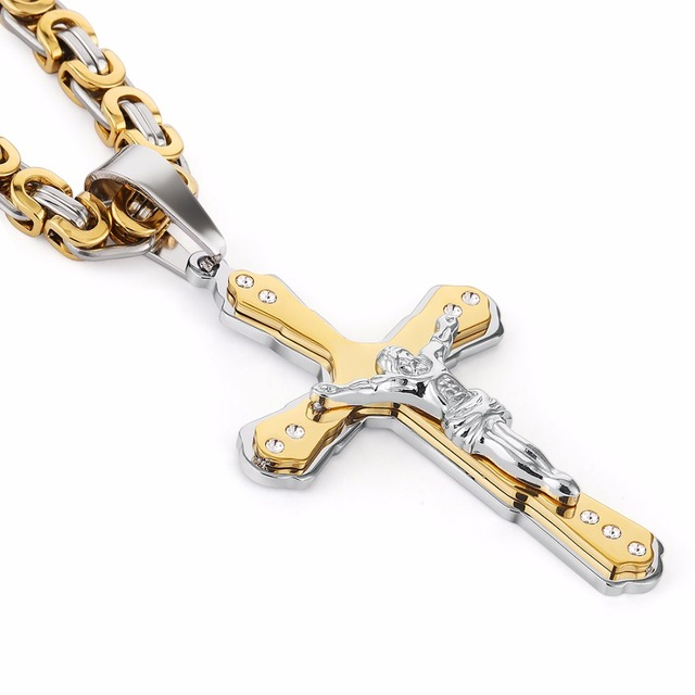 Christian Jesus Cross Crystal Necklace
