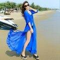 2017 Новый Пляж dress длиной макси длины пола кардиган для женщин sexy шифон полный чешские dress пиджаки белый, красный, синий, небесно-голубой