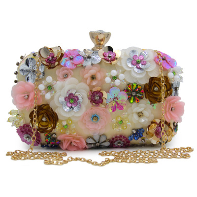 Flower-Handbags Party-Bags Unique Chain Diamonds Women's Decoration Metal Colorful Hot-Sales
