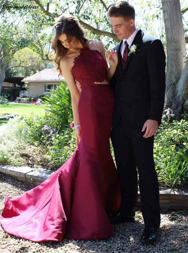 Sexy Burgundy Mermaid Two Pieces Prom Dresses Lace Appliques Halter Occasion Gowns 2019 vestido gala