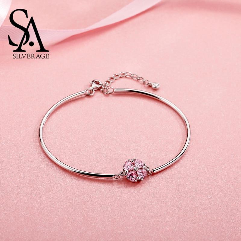 SA SILVERAGE Настоящее серебро 925 проба розовый браслеты с клевером и браслеты амулетный браслет со стразами Серебро 925 Модный браслет женщина