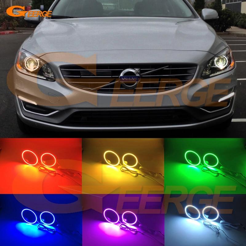 Для Вольво S60 S60L V60 на 2014 2015 2016 Ксеноновые фары отлично Ангел глаза многоцветные Ультра-яркий RGB из светодиодов Ангел глаза комплект