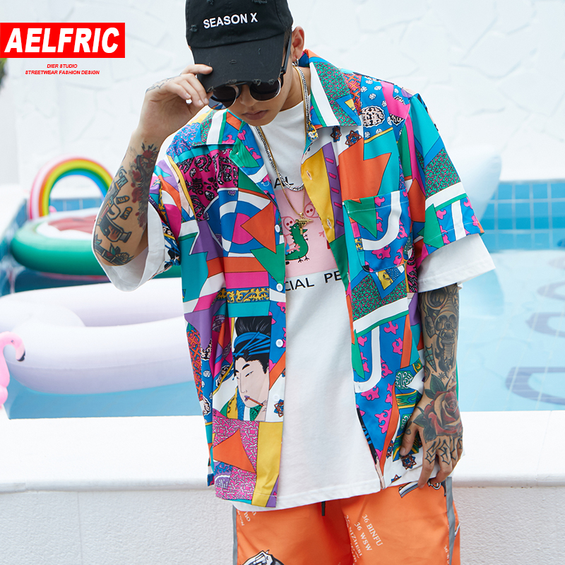 Aelfric Short Sleeve Shirt Men Hip Hop Japanese Streetwear Ukiyoe Casual Shirt Man Summer Fashion Soft Hawaiian Shirts He01 #1